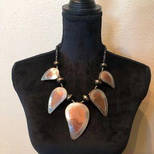 Jewelry - Statement necklace copper w/ silver tone & brass.